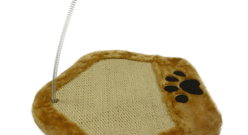 Paw Shape Cat Scratch Board with String Plush Ball