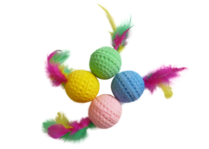 Sponge Ball with Feathers cat toys