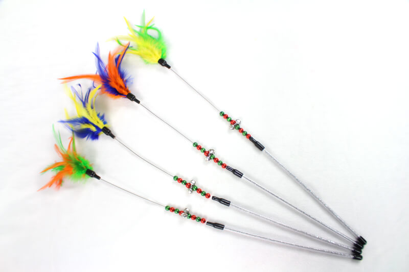 Fishing pole style cat teaser toys with bell and feather for Cat fishing pole