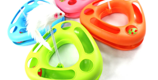 Triangle Circle Toy with Ball and String Mouse