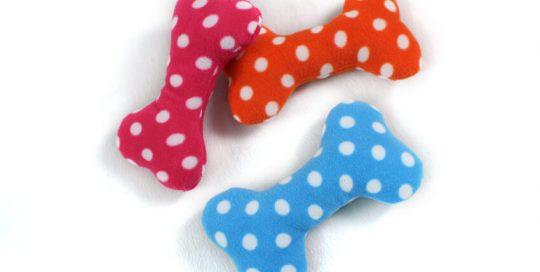 Stuffed Polka Dot Bone Dog Toy with Squeaker